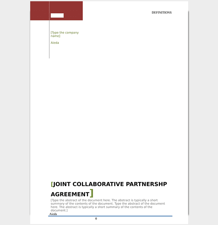 Partnership agreement template 12 agreements for word for Collaboration contract template