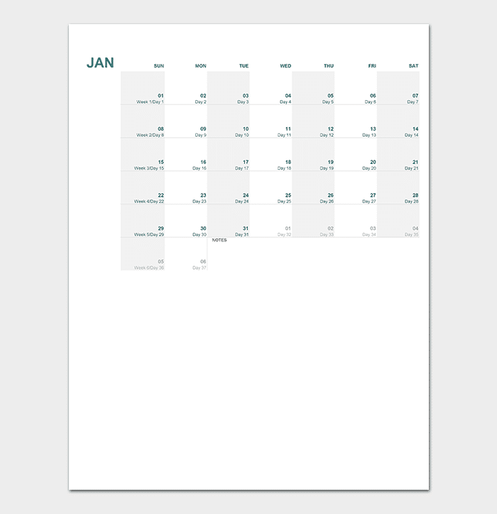any year calendar for excel sheet