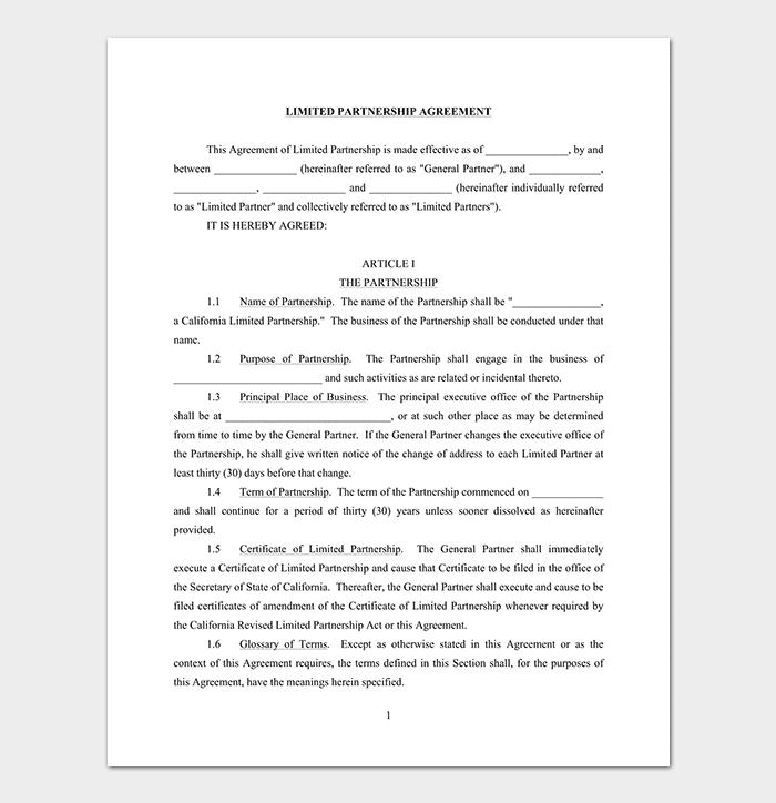 Limited Partnership Agreement Sample