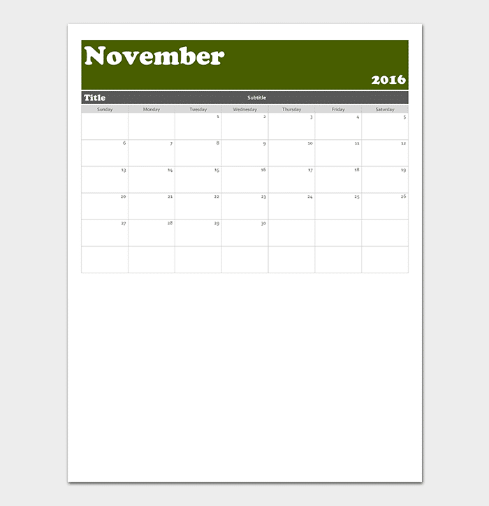 Monthly Calendar for Any Year
