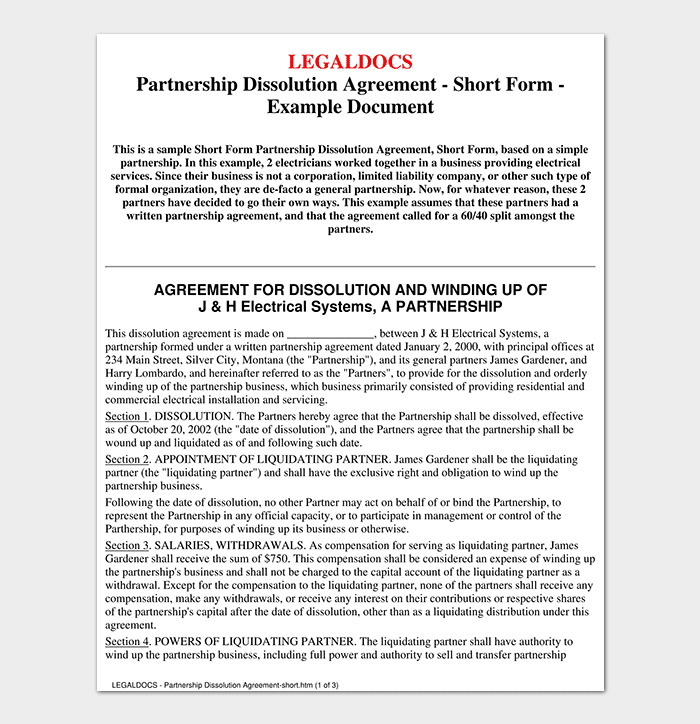 Partnership agreement template 12 agreements for word for Silent partner contract template
