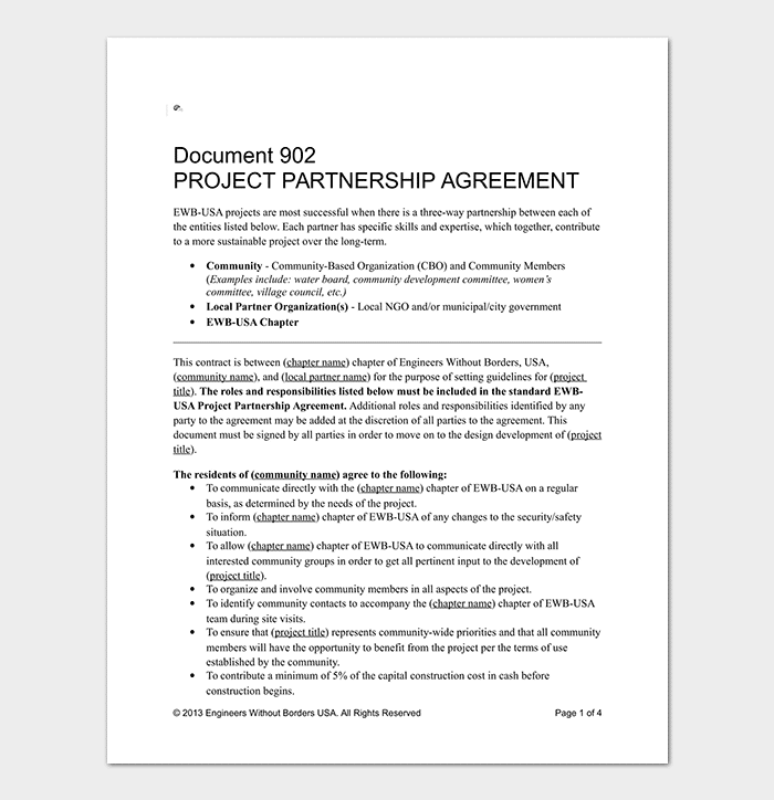 Partnership Agreement Template 12 Agreements For Word Doc Pdf