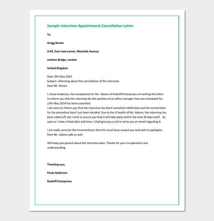 Appointment cancellation letter 15 sample letters sample cancellation letter of interview appointment altavistaventures Images