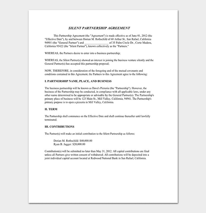 Partnership Agreement Template Agreements For Word Doc PDF - Silent partnership agreement template
