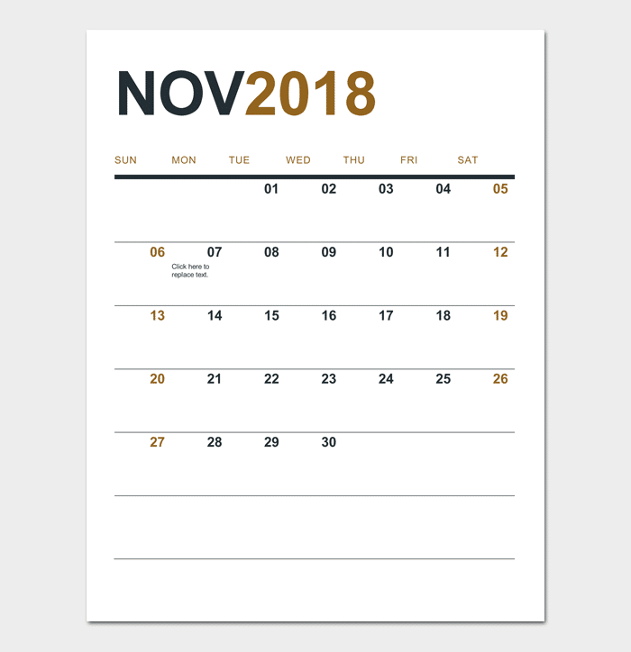 Simple Calendar (2018 – 2019 or Any Year)