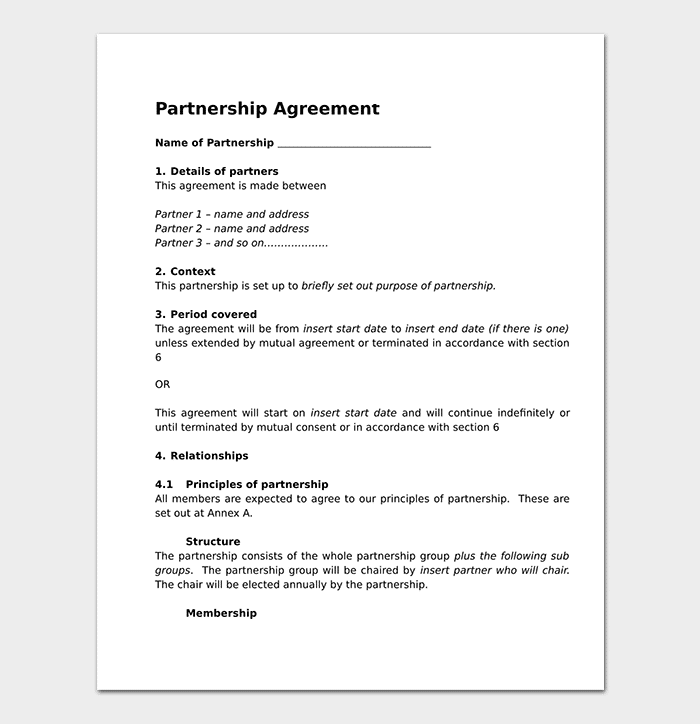 partnership agreement template 12 agreements for word doc pdf. Black Bedroom Furniture Sets. Home Design Ideas