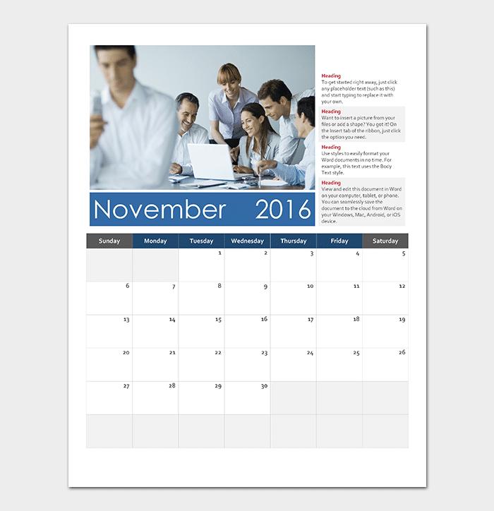 Vertical calendar (Sunday start)