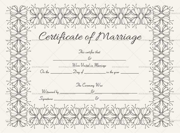 47 Marriage Certificate Template 1897 Black in Word