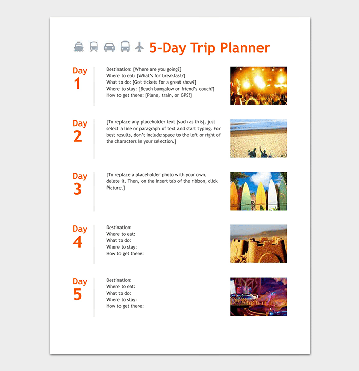 5 Day Business Trip Planner Template
