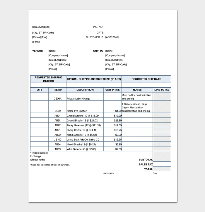 Add On Product Sales Order Form Template