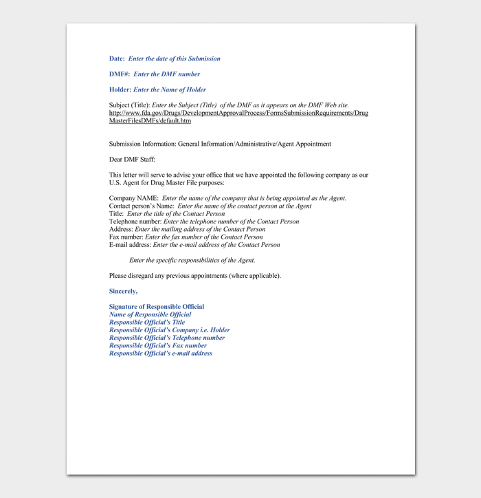 Agent Appointment Letter Example