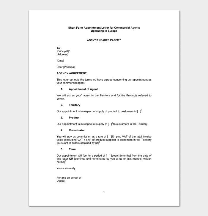 Agent Appointment Letter for Commerical Commision