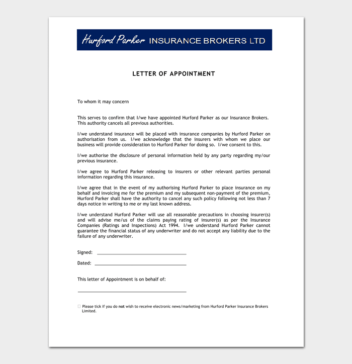 Agent appointment letter template 14 sample letters for Insurance marketing letters