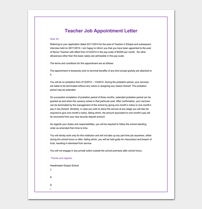 Appointment Letter for Teacher Doc
