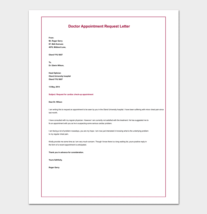 Appointment request letter 14 letter samples formats appointment request letter for doctor altavistaventures Image collections