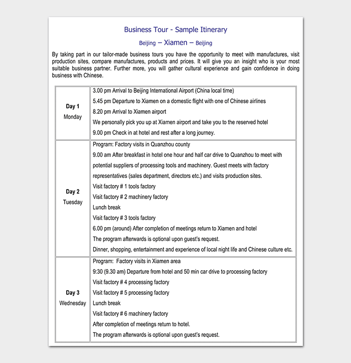 BUSINESS TOUR SAMPLE ITINERARY