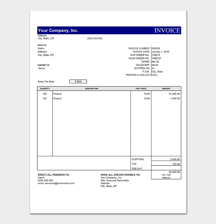 Basic Photography Receipt Template