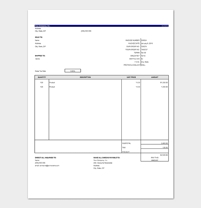 general invoice template 9 for word excel pdf format