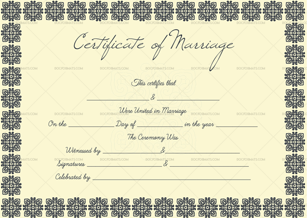 Blank Marriage Certificate Box Border Word, PDF (Preview)
