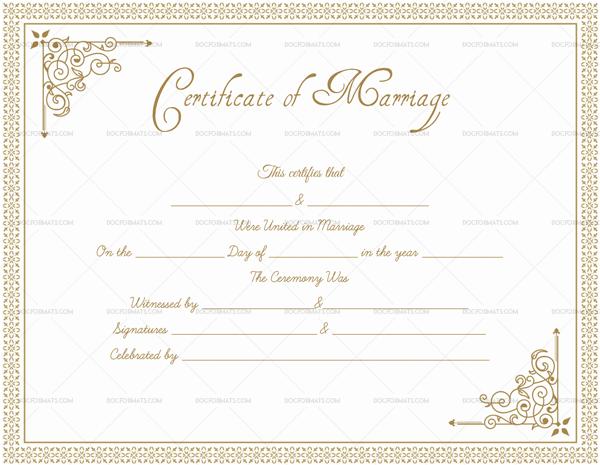 Blank Marriage Certificate Format Light Brown 1