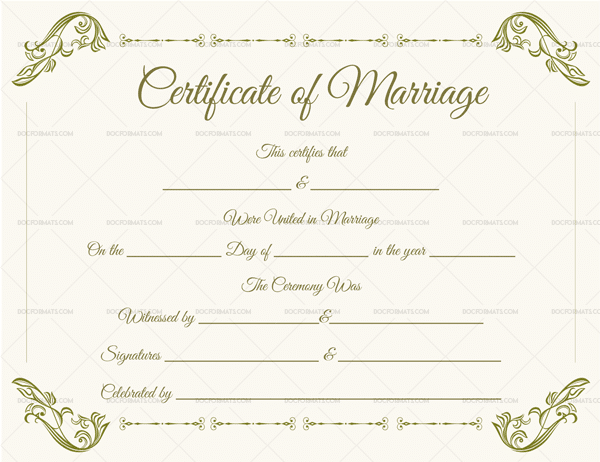 Blank Marriage Certificate Template 1