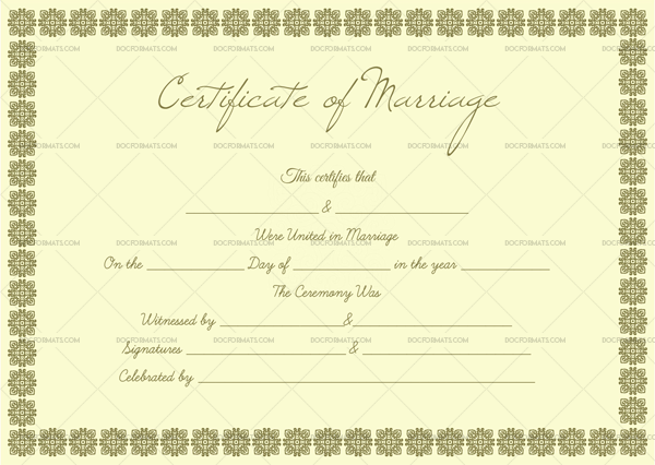 Blank Marriage Certificate Template—Small Box Design (Preview)