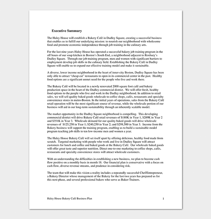 Bakery Business Plan Template 15 Samples Word Doc Pdf Format
