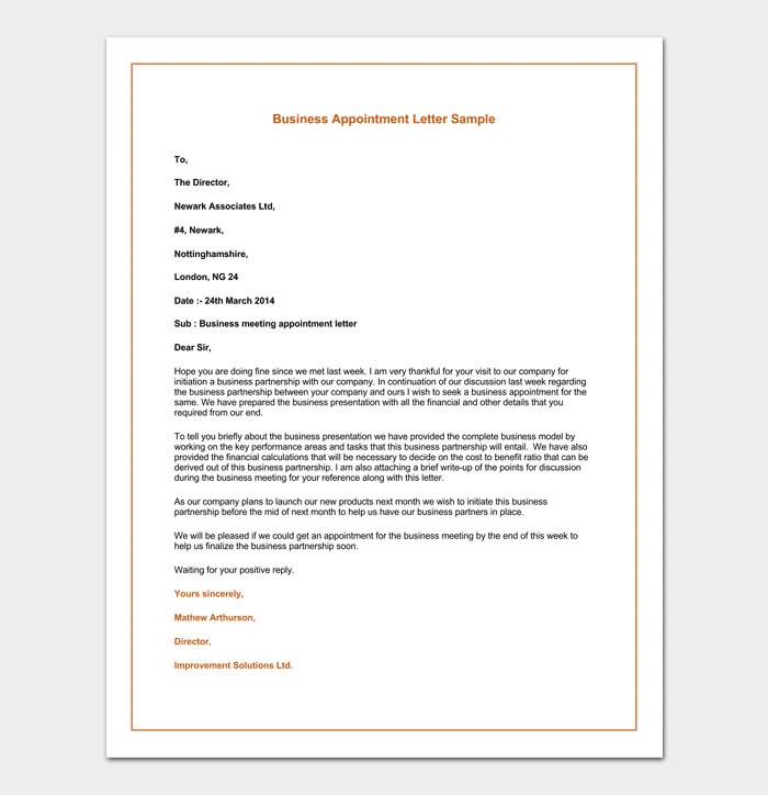 Business Appointment Request Letter Example