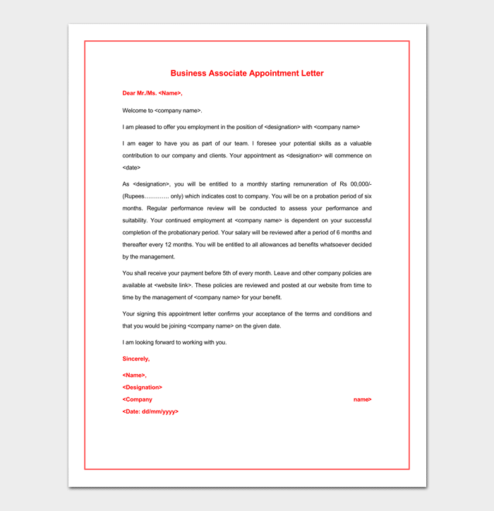 Business Associate Appointment Letter Format