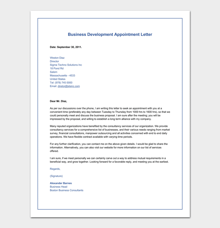 Business Development Appointment Letter Example