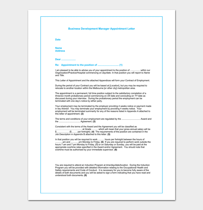 Business Development Manager Appointment Letter Sample