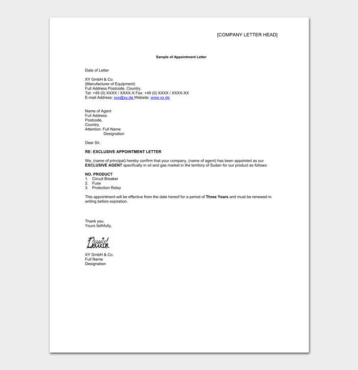 Business Representative Appointment Letter Format