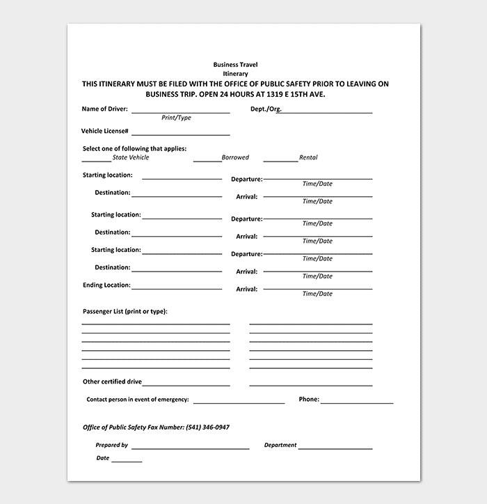 Business travel itinerary template 23 word excel pdf business safety travel itinerary template friedricerecipe Gallery