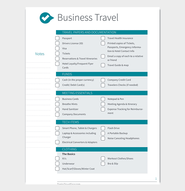 business itinerary template
