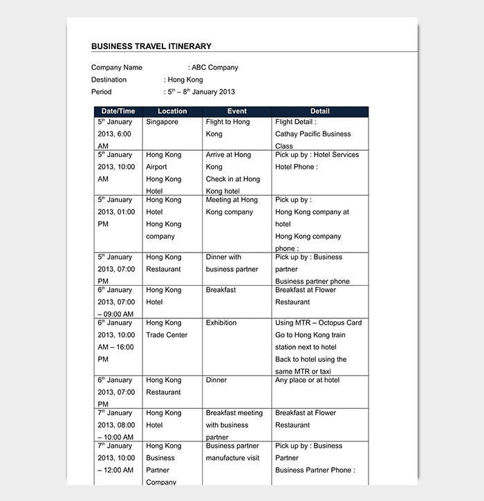 Business Travel Itinerary Template Example