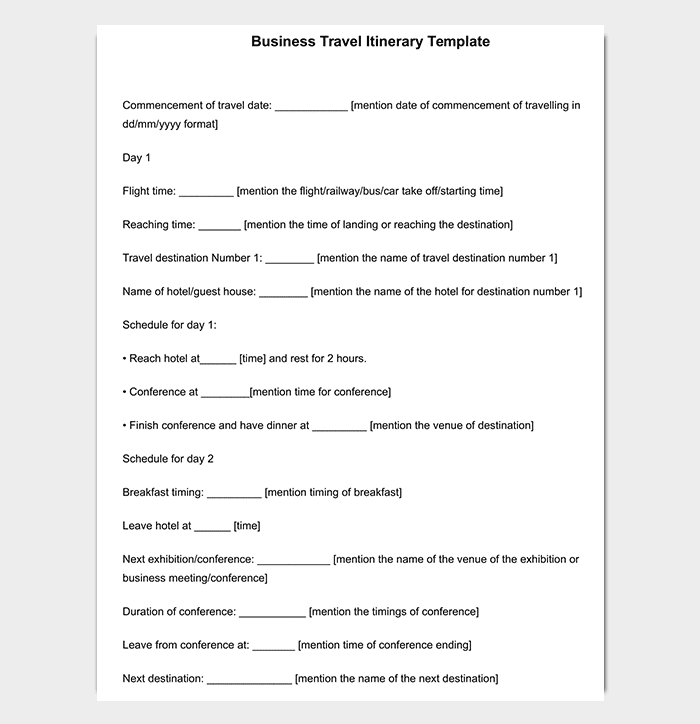 Amazing Business Travel Itinerary Template For Word  Business Itinerary Template With Meetings