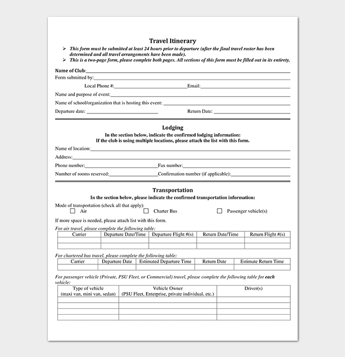 Business travel itinerary template 23 word excel pdf business travel itinerary template pdf format flashek Images