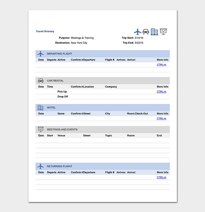 Business Trip Itinerary Template In Excel