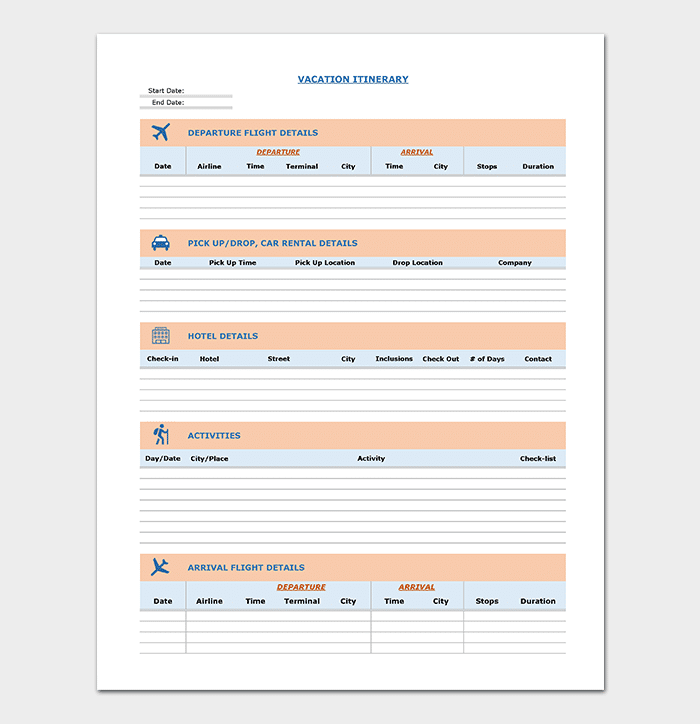 Business Vacation Travel Itinerary Template