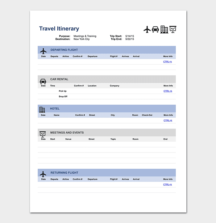 Itinerary template doc selol ink itinerary template doc flashek Images