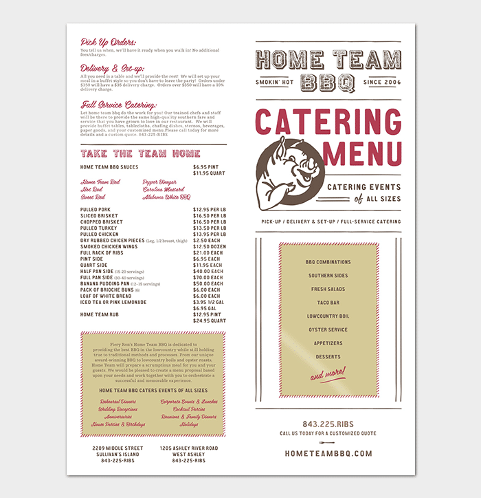 catering business menu proposal template