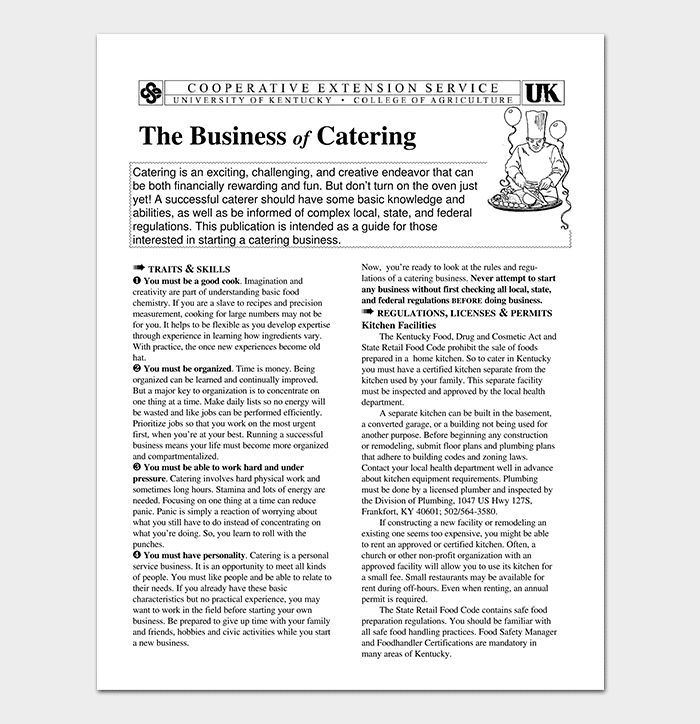 Catering Business Plan Template - 11+ For (Word Doc, PDF Format)