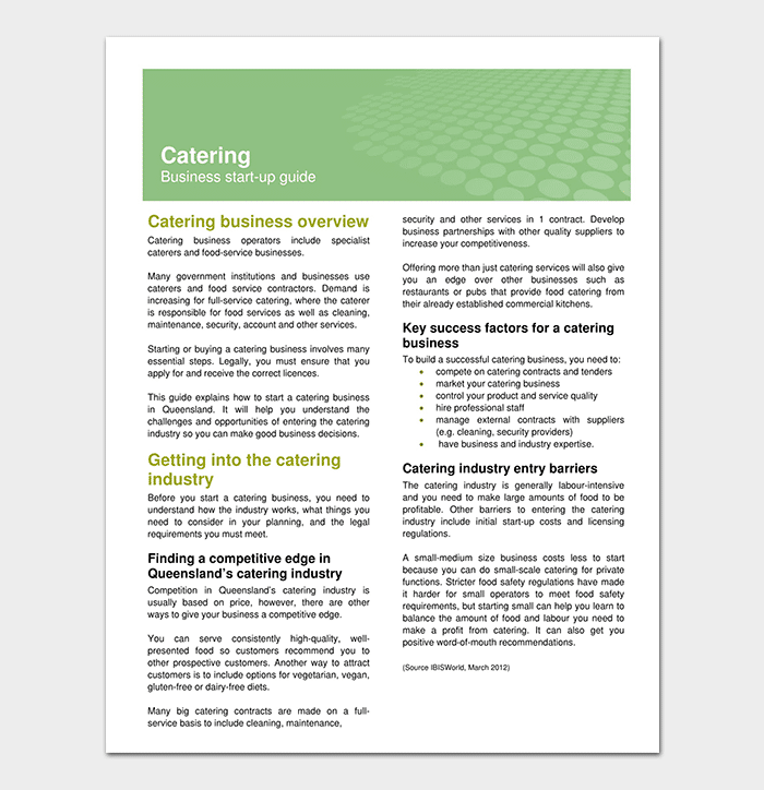 Catering Business Plan Outline Template