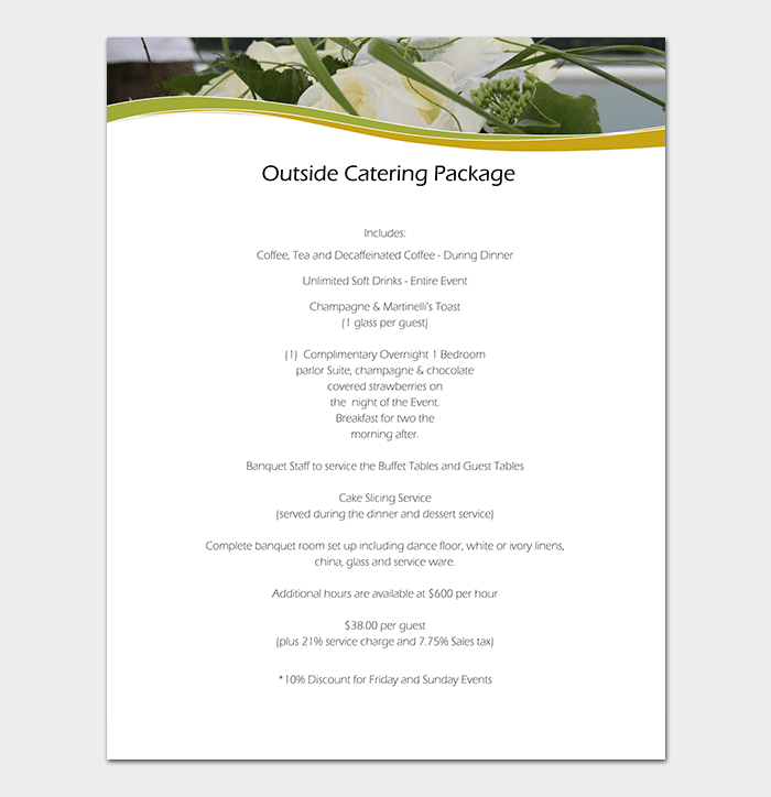 Catering Business Plan Template for Wedding