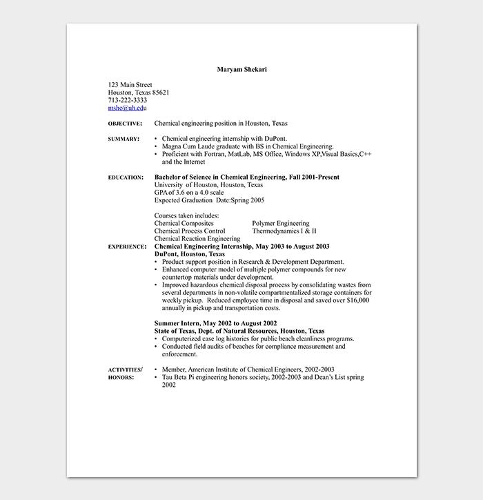 Chemical Engineering Internship Resume