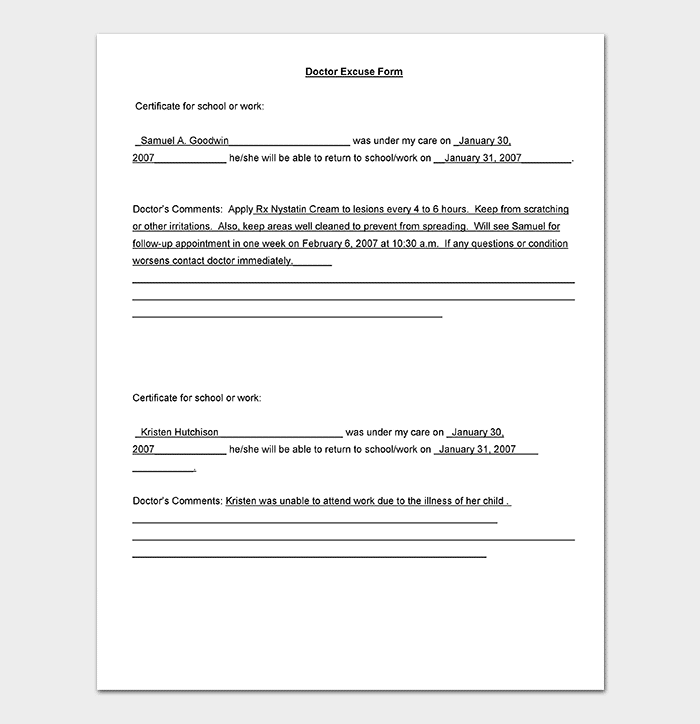 children clinic medical note template