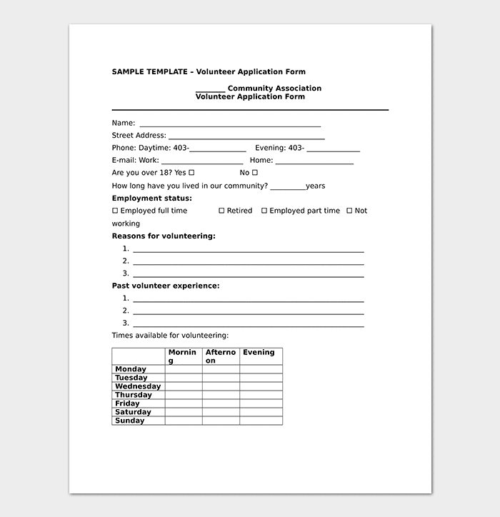Community Association Volunteer Application Form