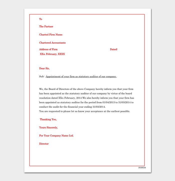 Company appointment letter 17 samples for word doc pdf format company auditor appointment letter format spiritdancerdesigns Gallery