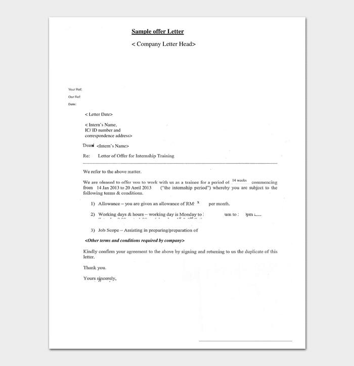 Company Internship Appointment Letter