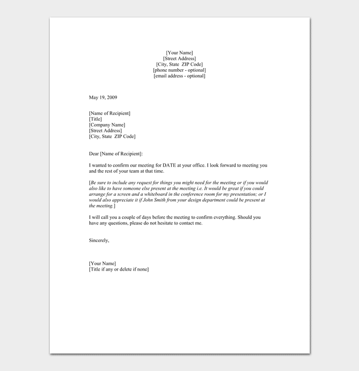 Confirmation Meeting Appointment Letter